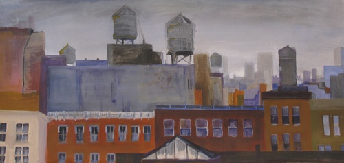 """"""" Soho Roofs"""" 24"""" x 36"""" acrylic on paper ( sold0"""