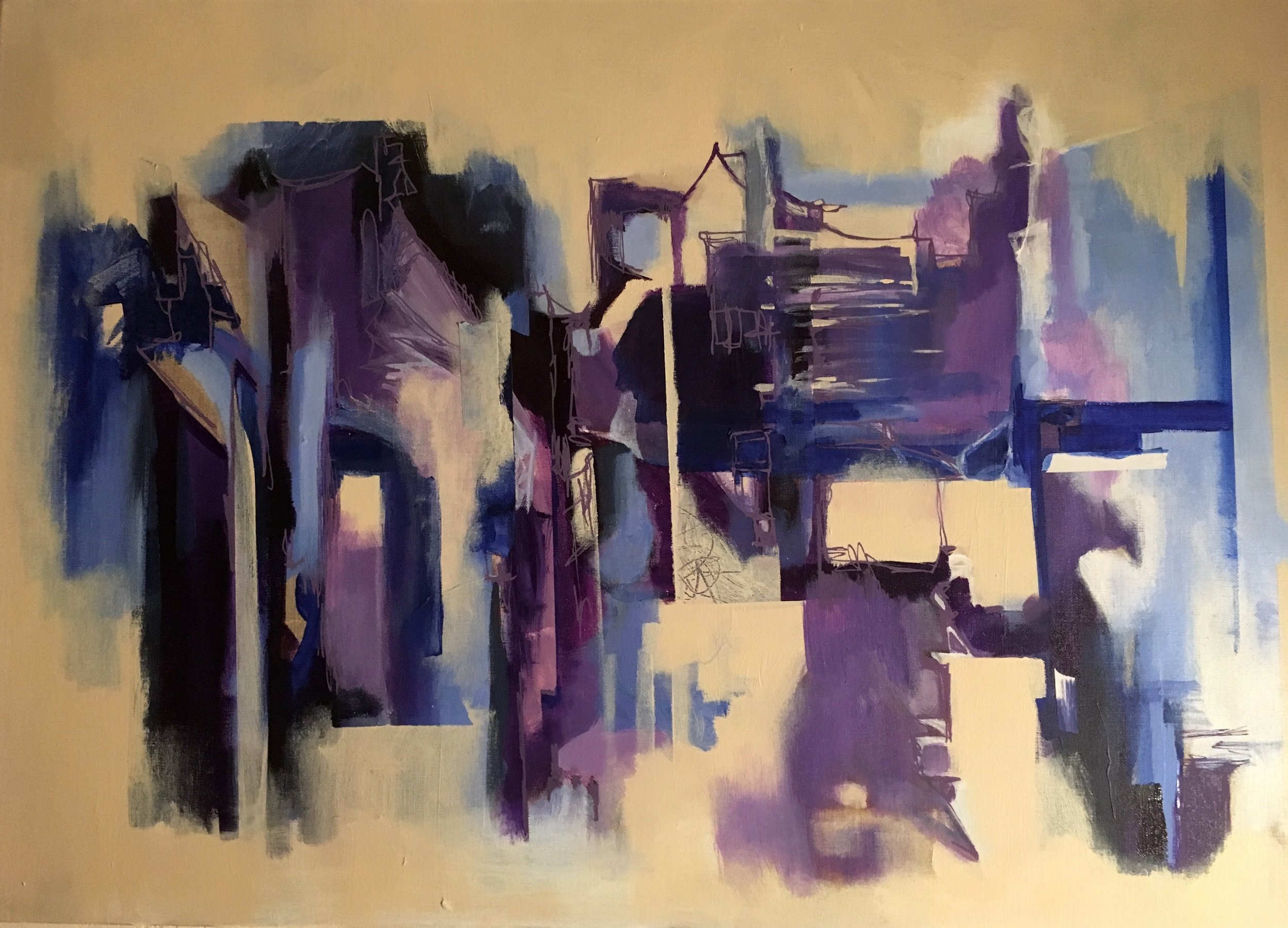 """ Night City"" acrylic on linen 24"" x 32"" $600"