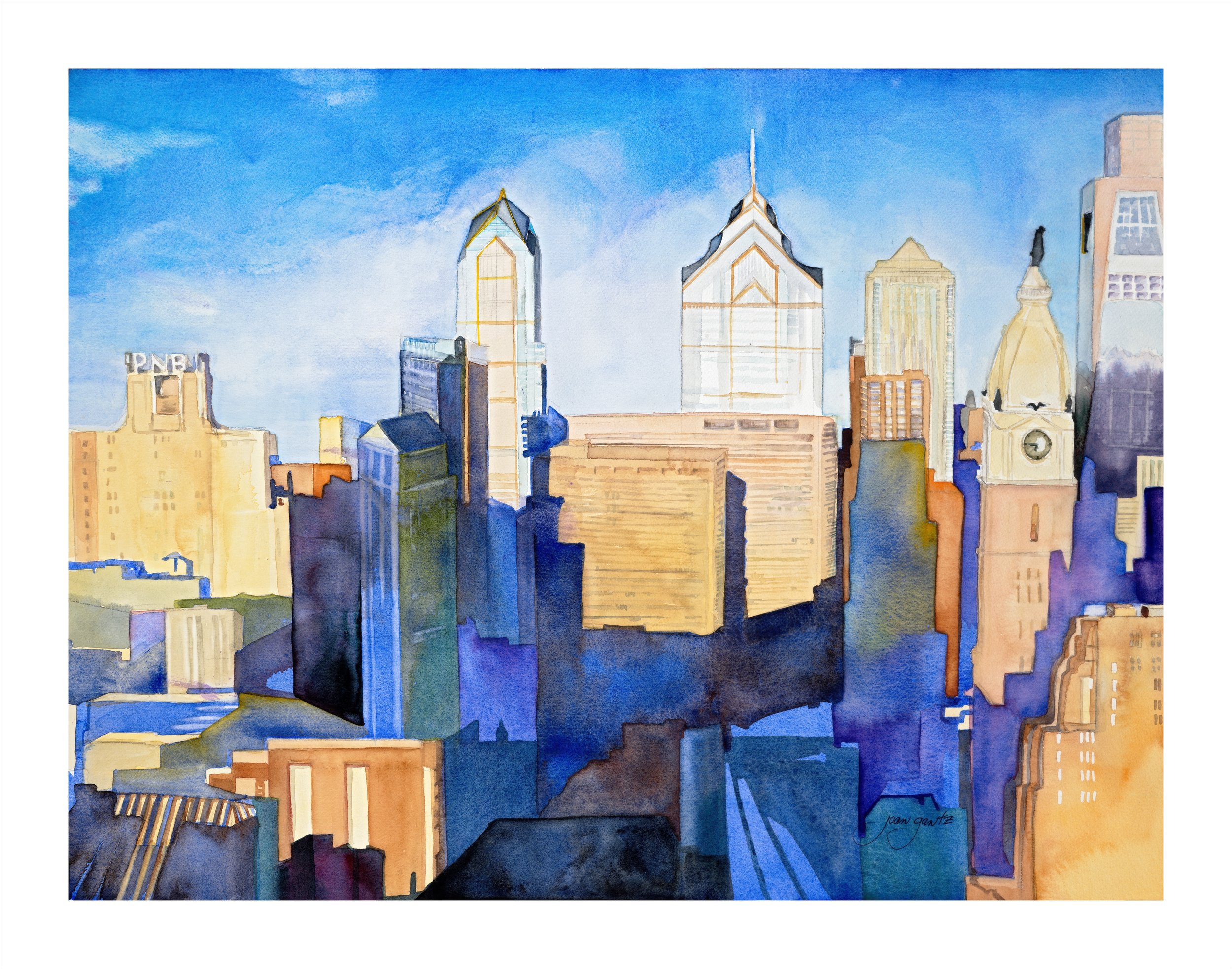 """ Philadelphia Emerging"" watercolor on paper 30"" x 35"" framed $600"
