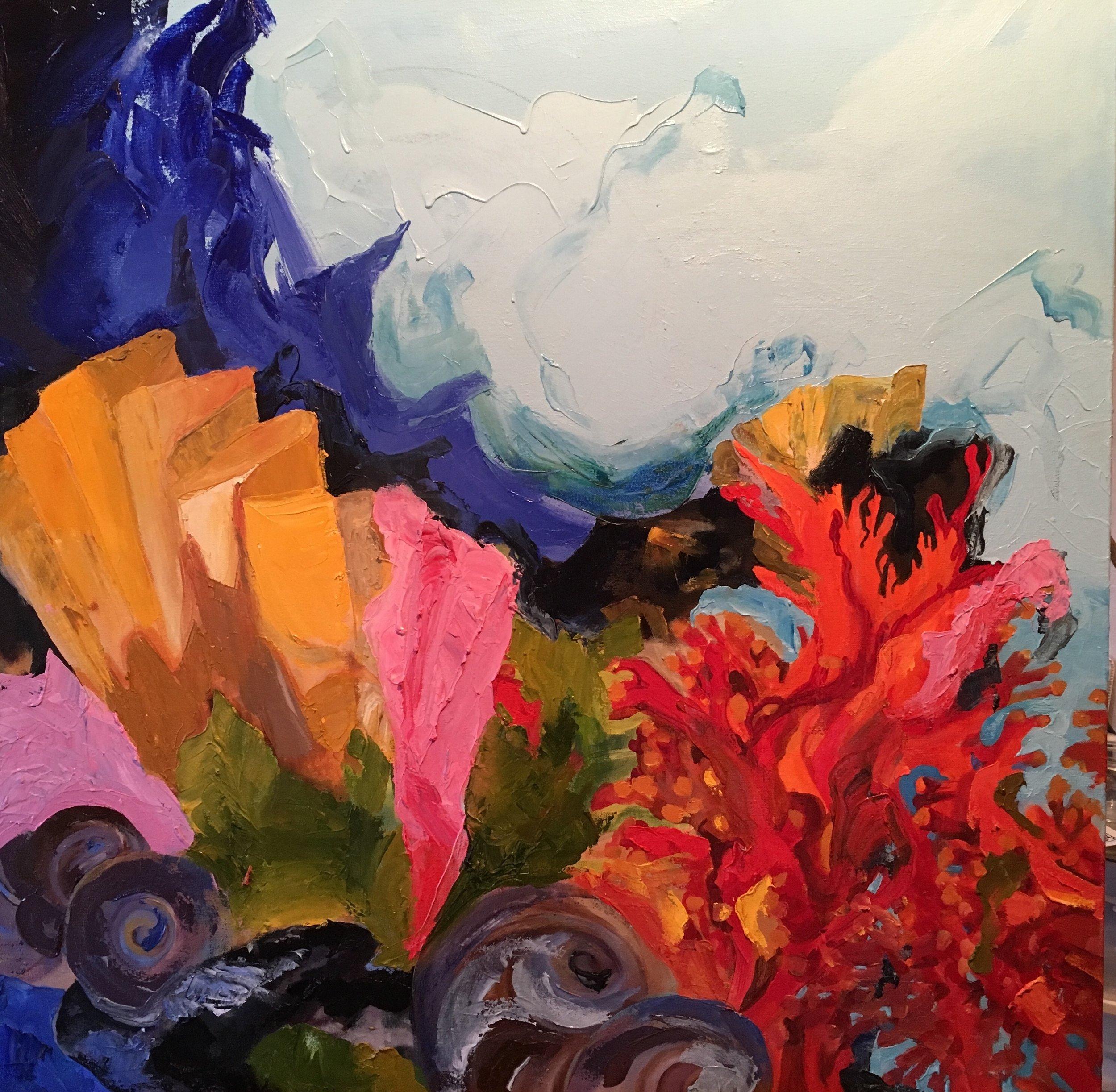 """ Beach Things"" oil on canvas 36""  x 36"""