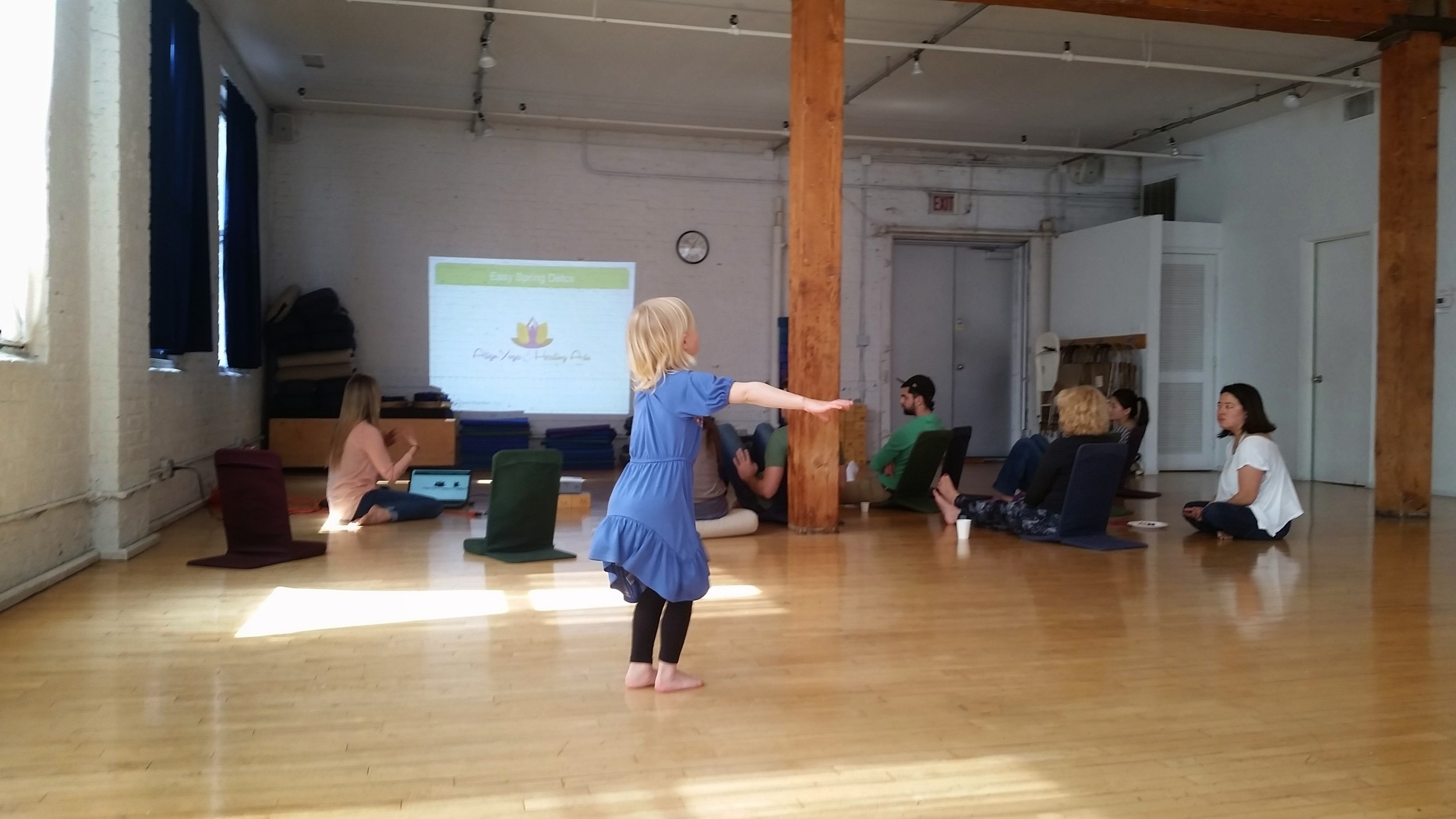 Aya dancing for Crystal's presentation at Moksha Yoga