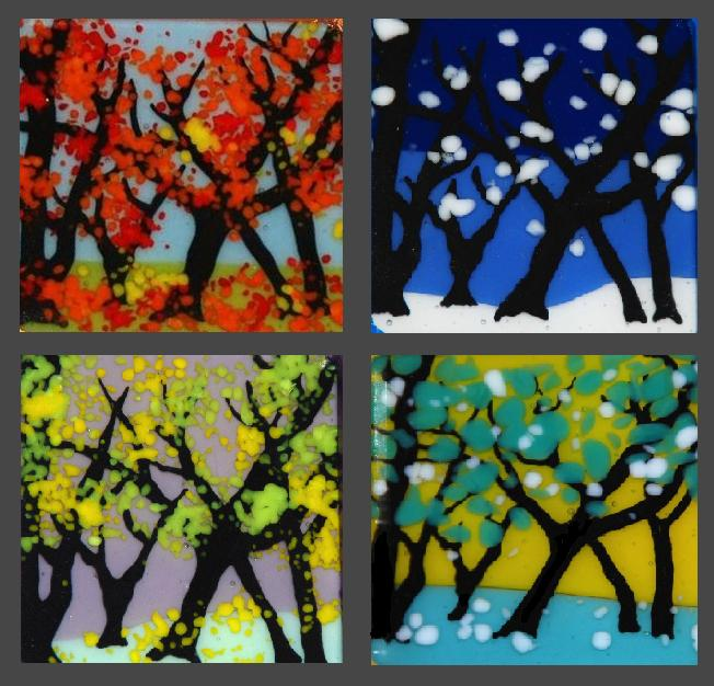 By changing the background colors and frit colors (acting as leaves), we can evoke any season, any feeling. Here are our interpretations of Autumn, Winter, Spring, and Summer in our fused glass trees.