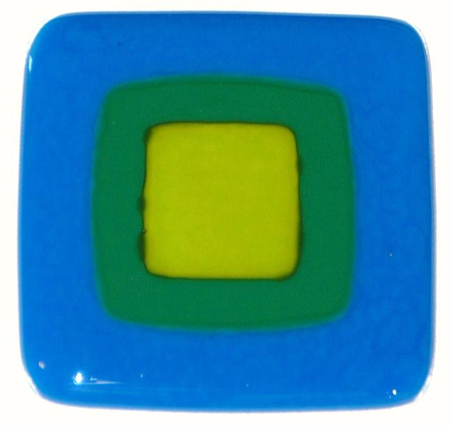 Craftsman Blue Fused Glass Tile