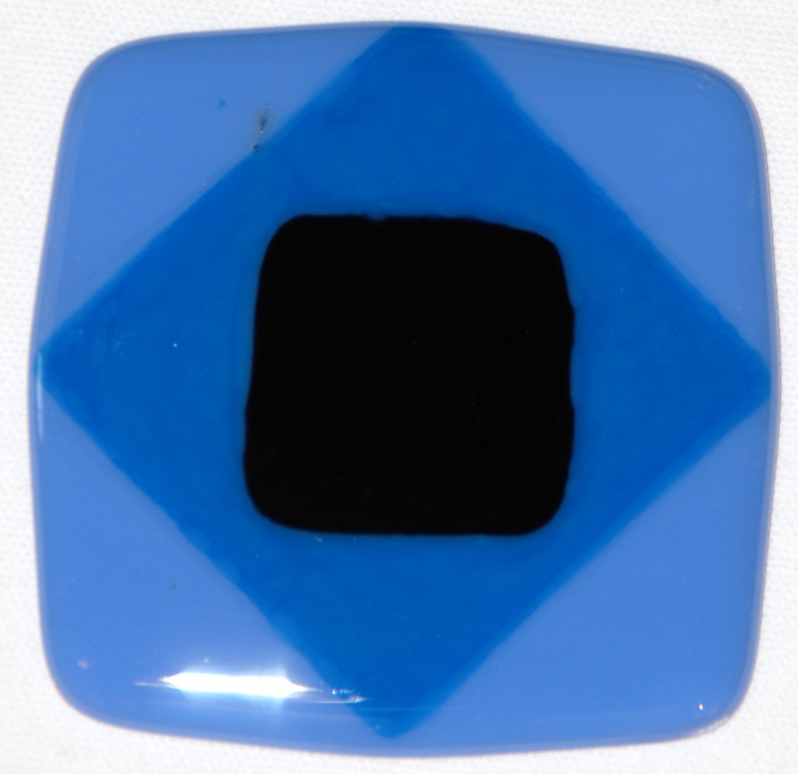 Craftsman fused glass diamond tile in periwinkle, sky blue, and black