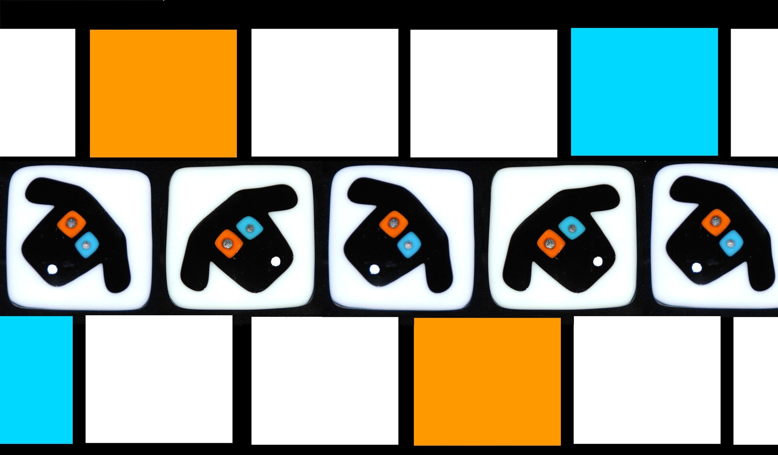row of black dog faces on white with orange and blue.jpg