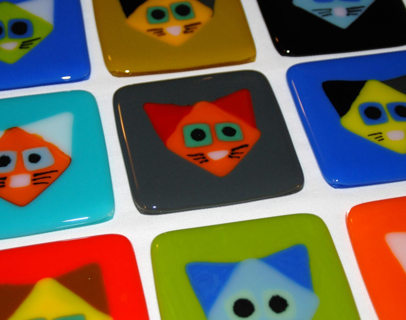cat coasters in fused glass.JPG