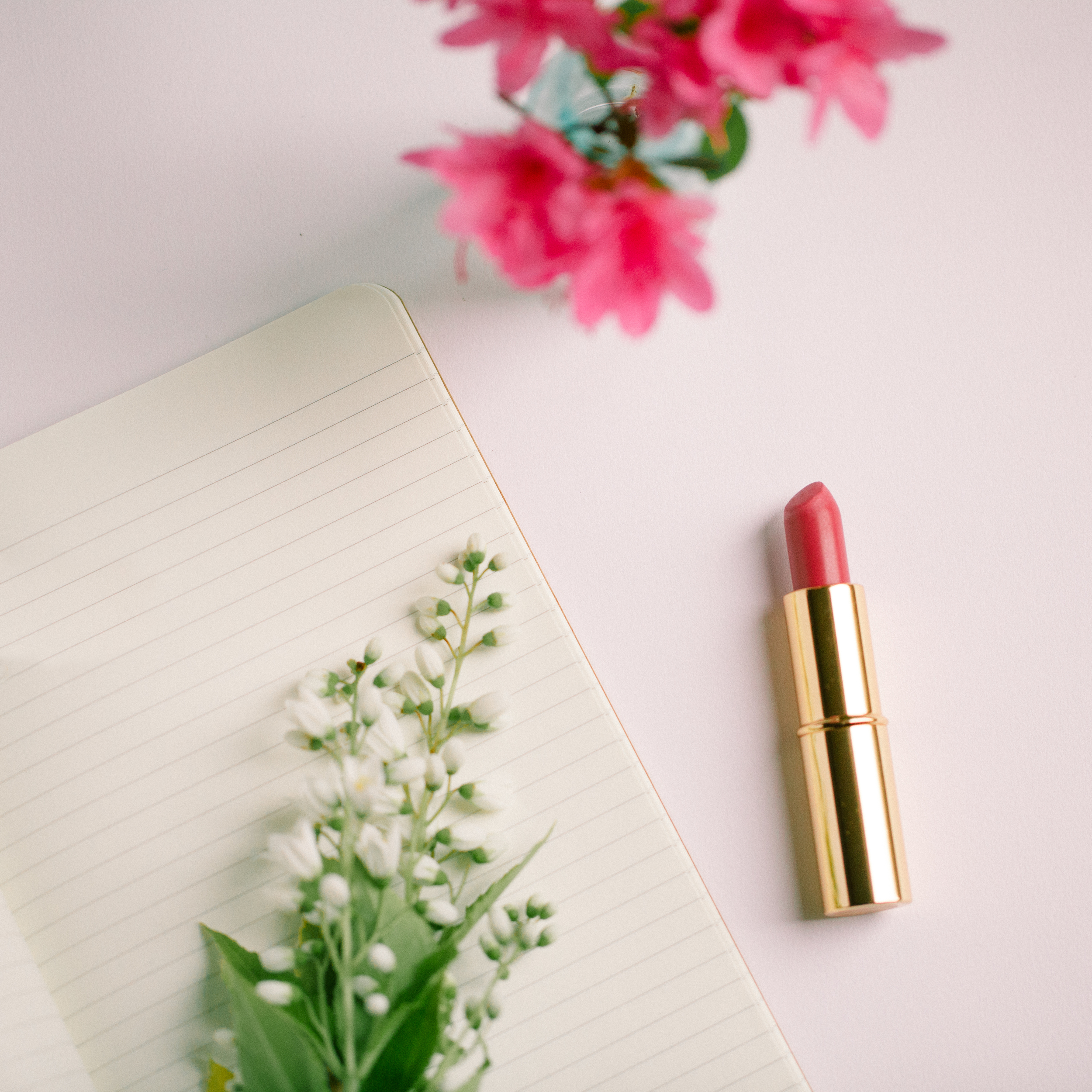 Journaling, pink lipstick. Fresh cut flowers. I love to write and express my thoughts through poetry, short stories and singing! (though I'm a little shy about that last one)..
