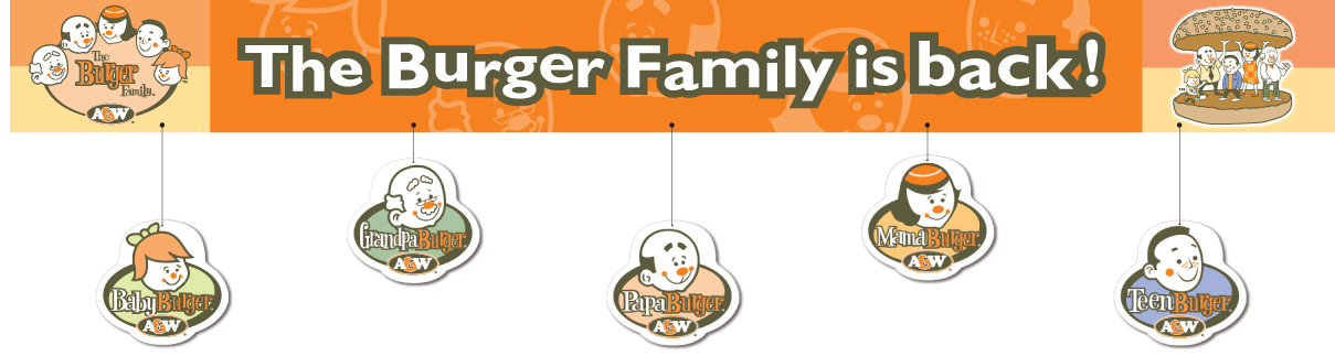 A&W Burger Family Relaunch 10ft Horizontal Banner with Die Cut Danglers