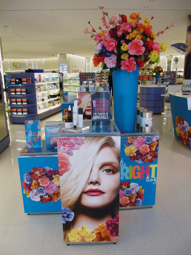 Store Interior showing Merchandising Cubes, Acrylic Sign & Decor