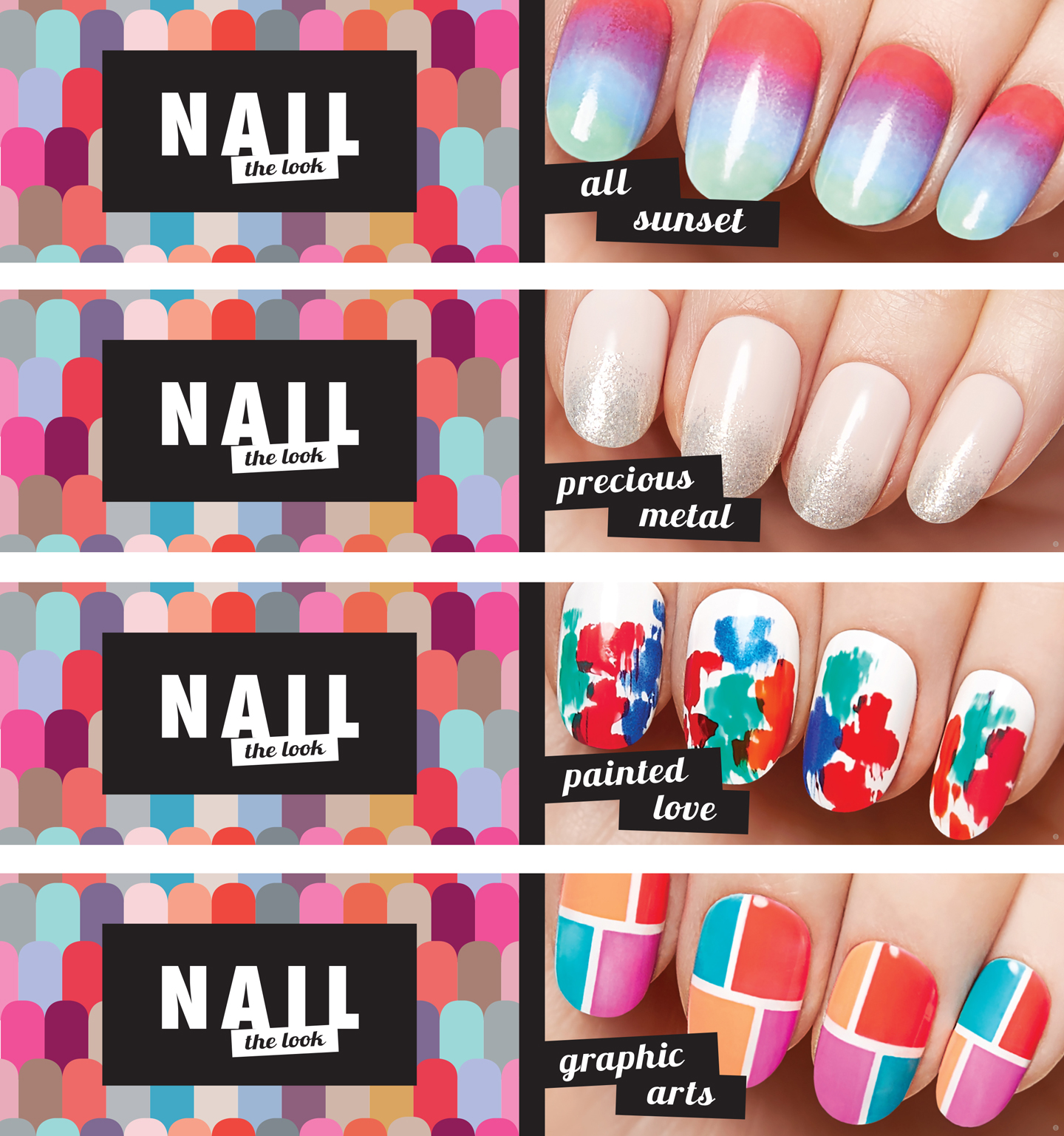 Shoppers Drug Mart Nail Campaign 2015 Quad Display Inserts- Four Sides. Product Displayed corresponded to the Four Nail Looks