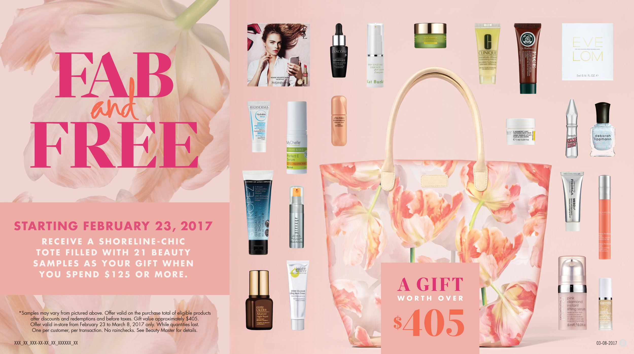 Murale Spring 2017  Fab and Free Gift with Purchase Promotion Cash Sign 10.75 x 6