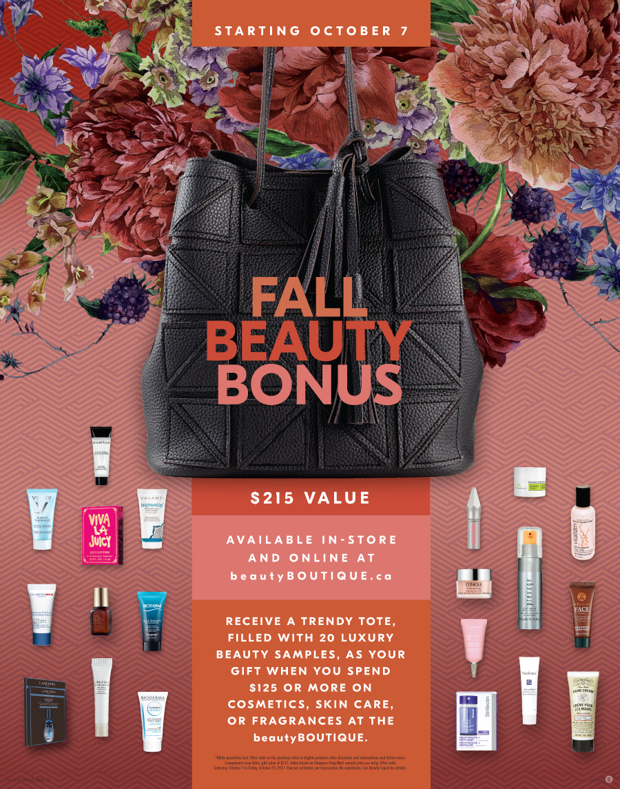 Shoppers Drug Mart 2017 Fall Beauty Bonus Tstand 22 x 28