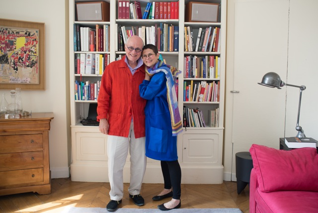 Dorie and her husband, Michael, in their home in Paris.