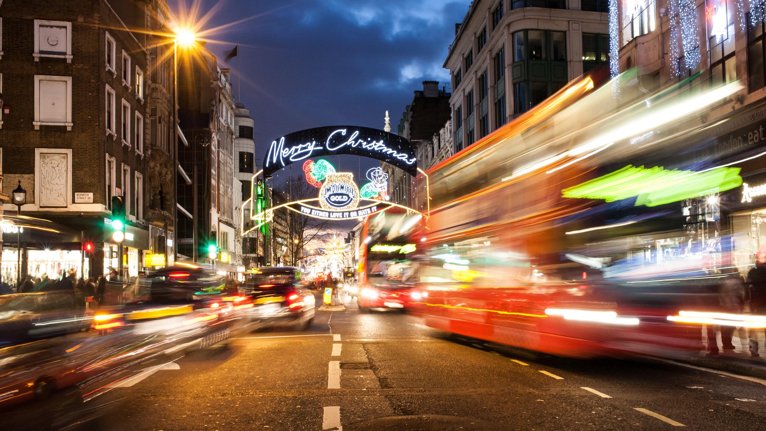 Christmas lights on London's Oxford Street