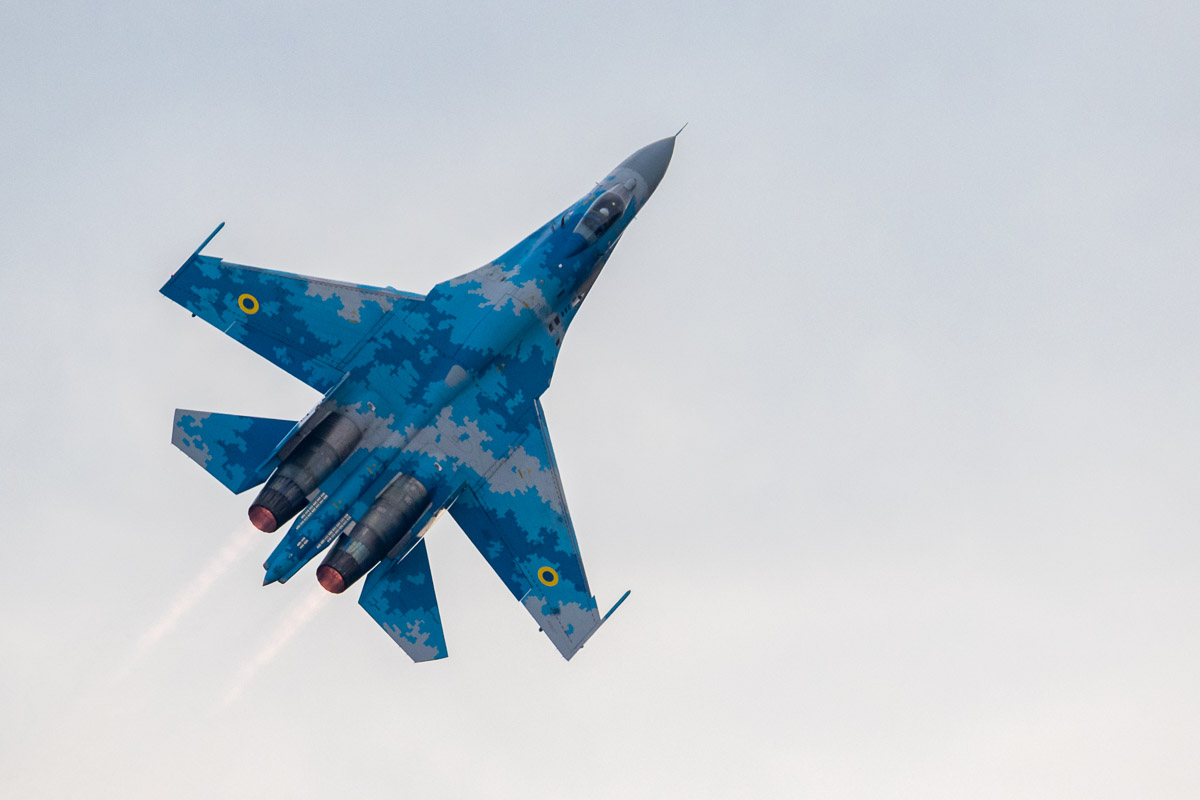 SU-27 flies vertically during its display at RIAT 2018