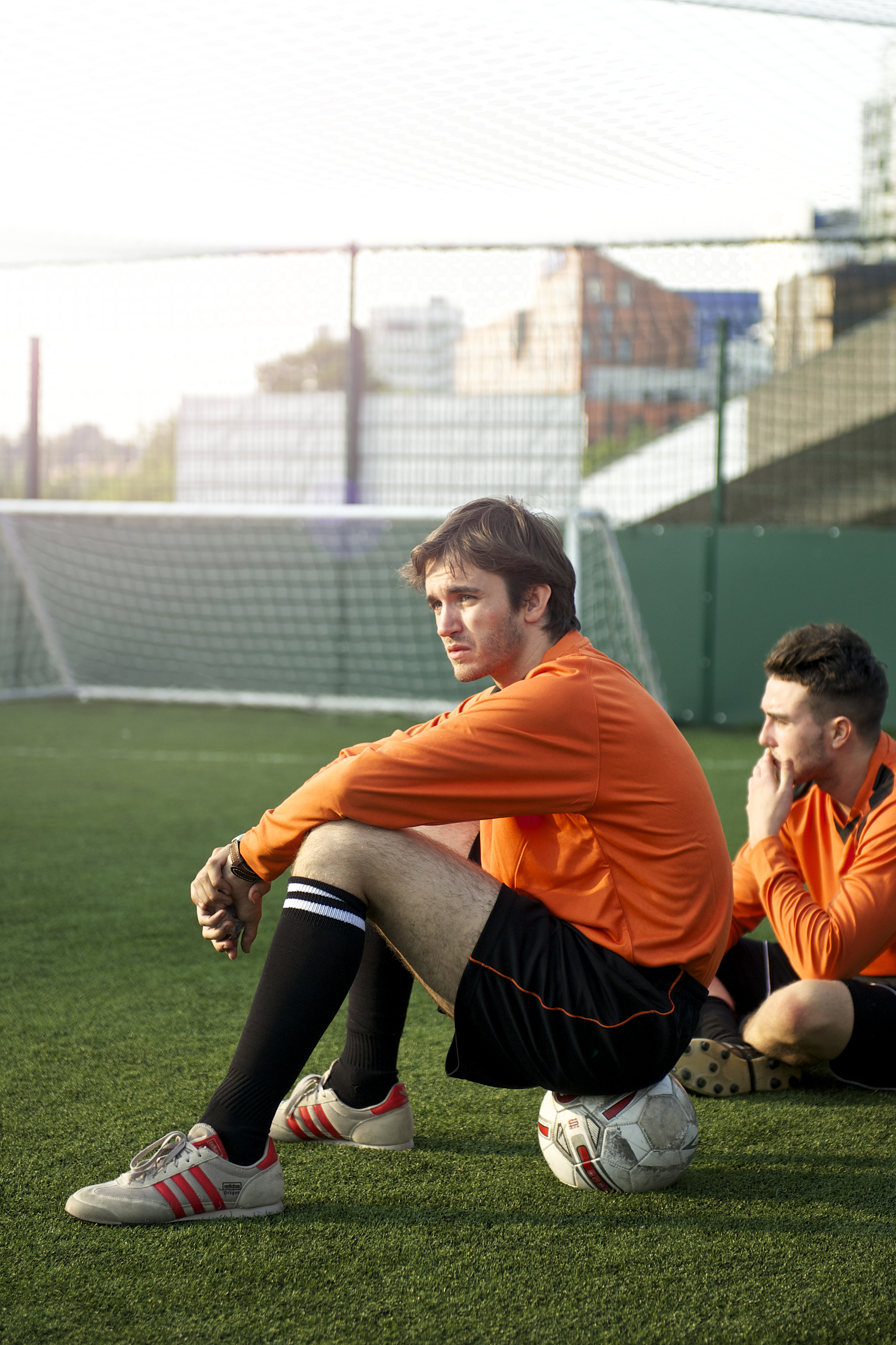 Lifestyle advertising photography of a 5-a-side football team shot next to Wembley Stadium