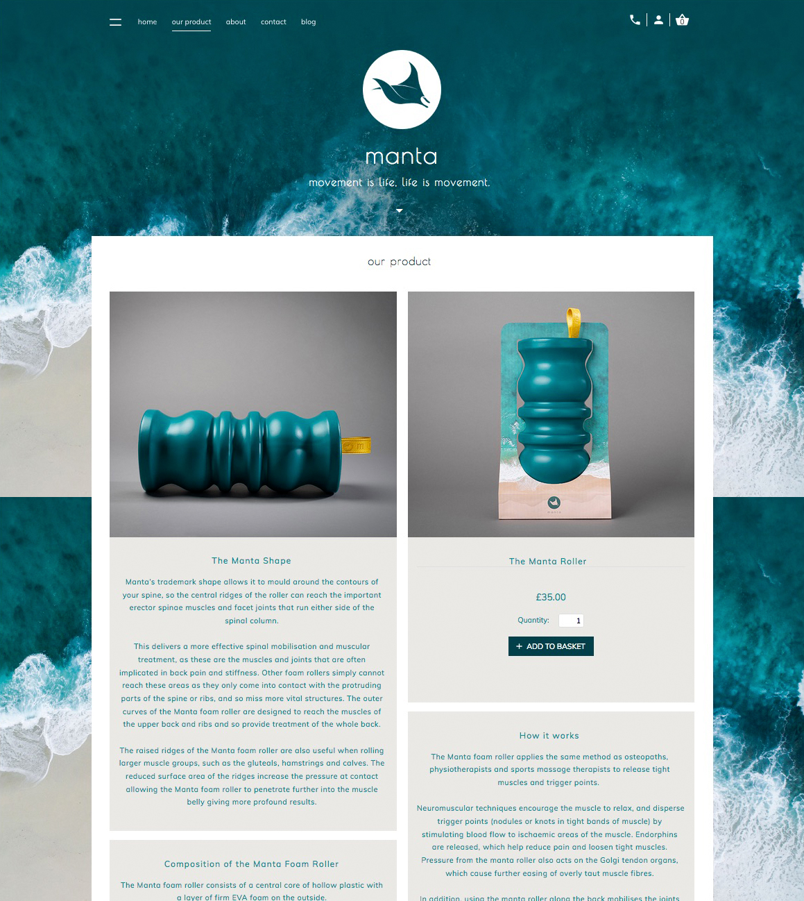 Commercial product photography of a foam rollers for a health and fitness start up company.