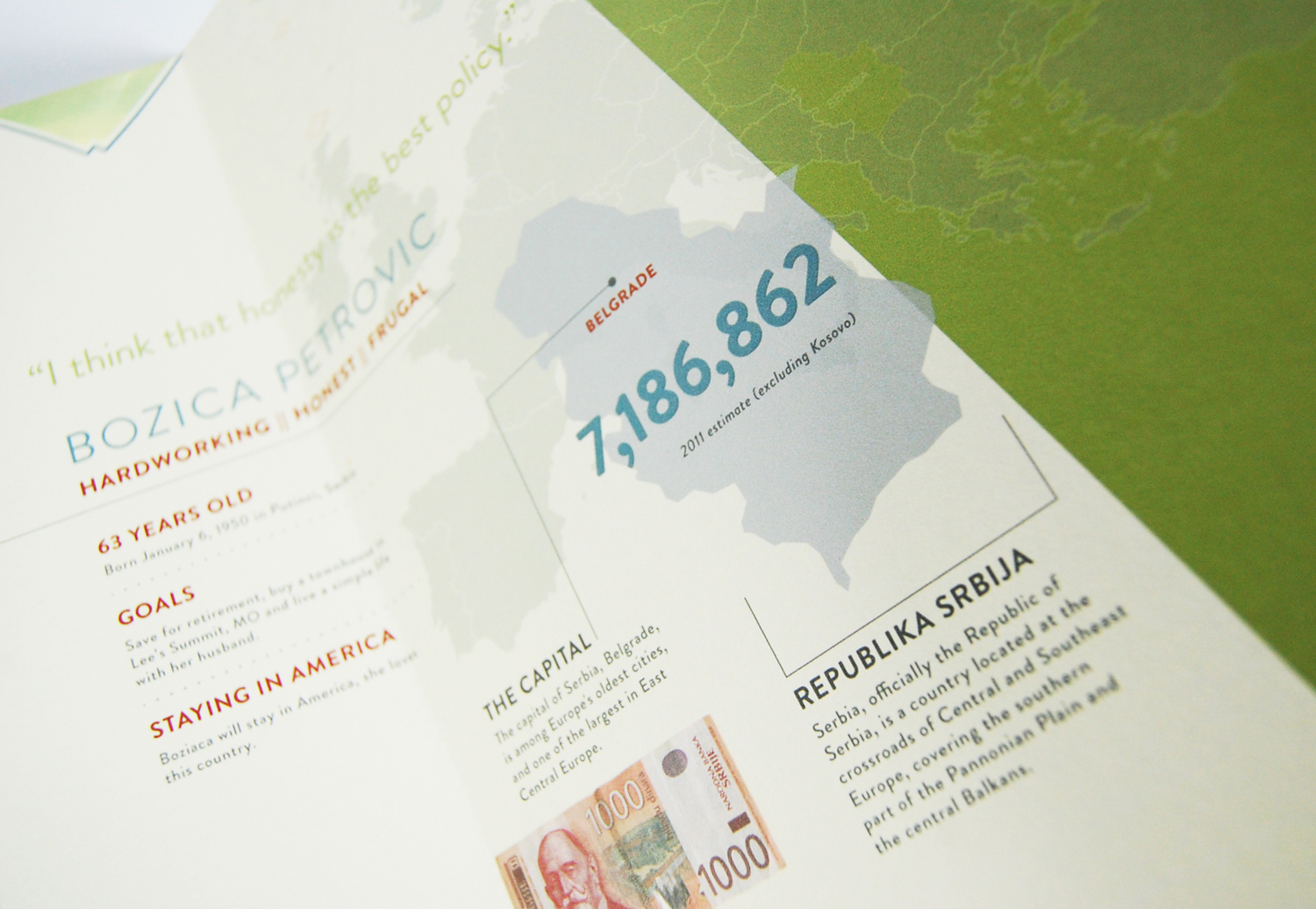 Inside detail shot describing basic facts of Serbia and it's capital city Belgrade.