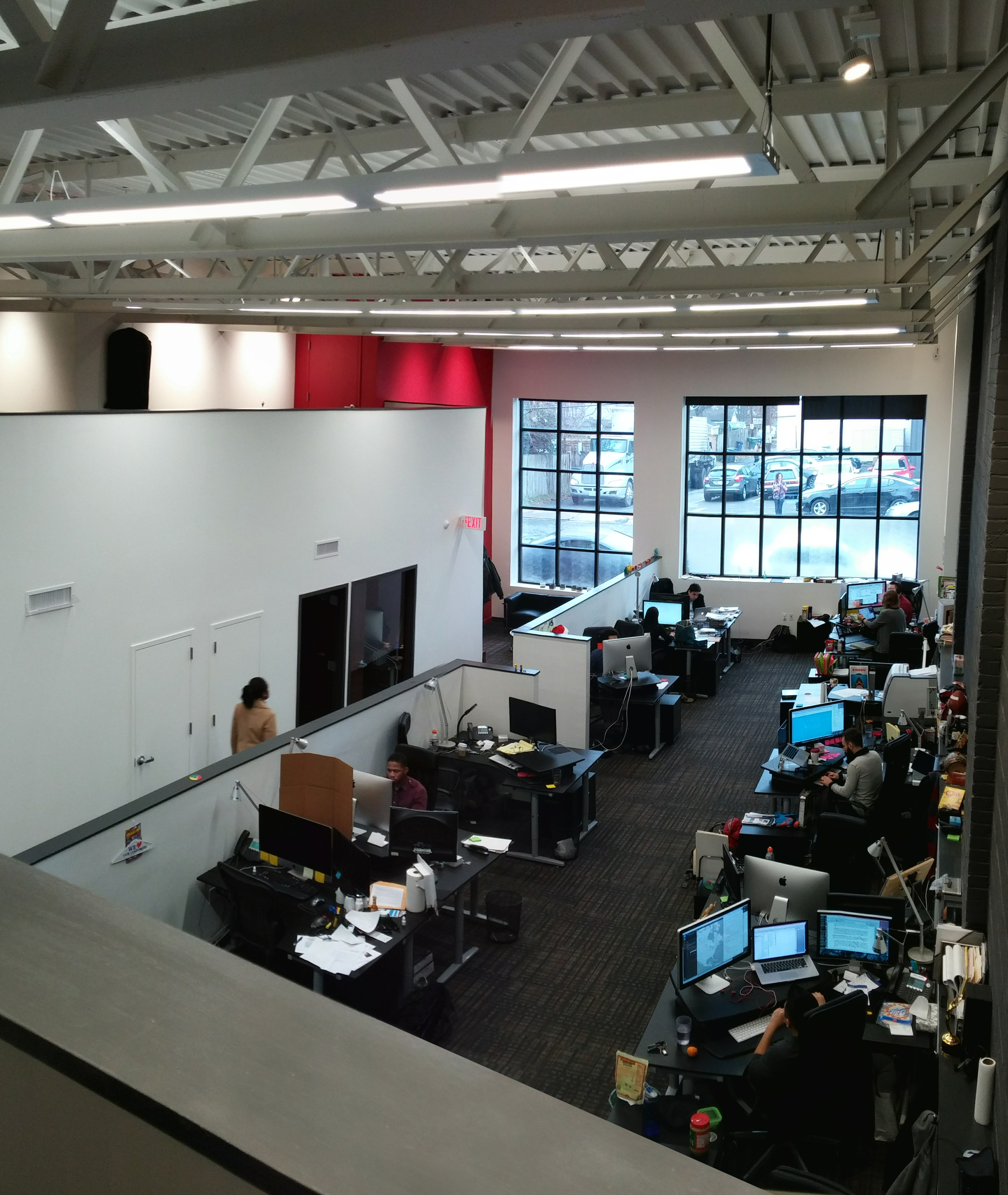 View of entry and workspace from mezzanine