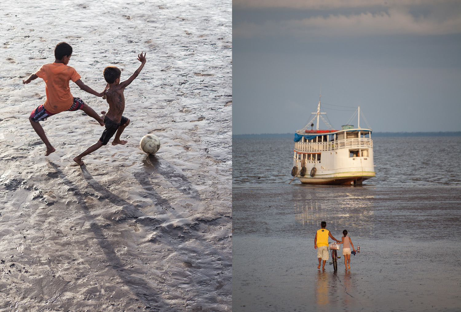 Low tide football at Macapá's river bank