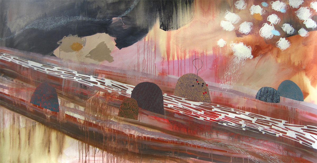 "Raincloud Shuffle, acrylic on canvas, 84"" x 42""."