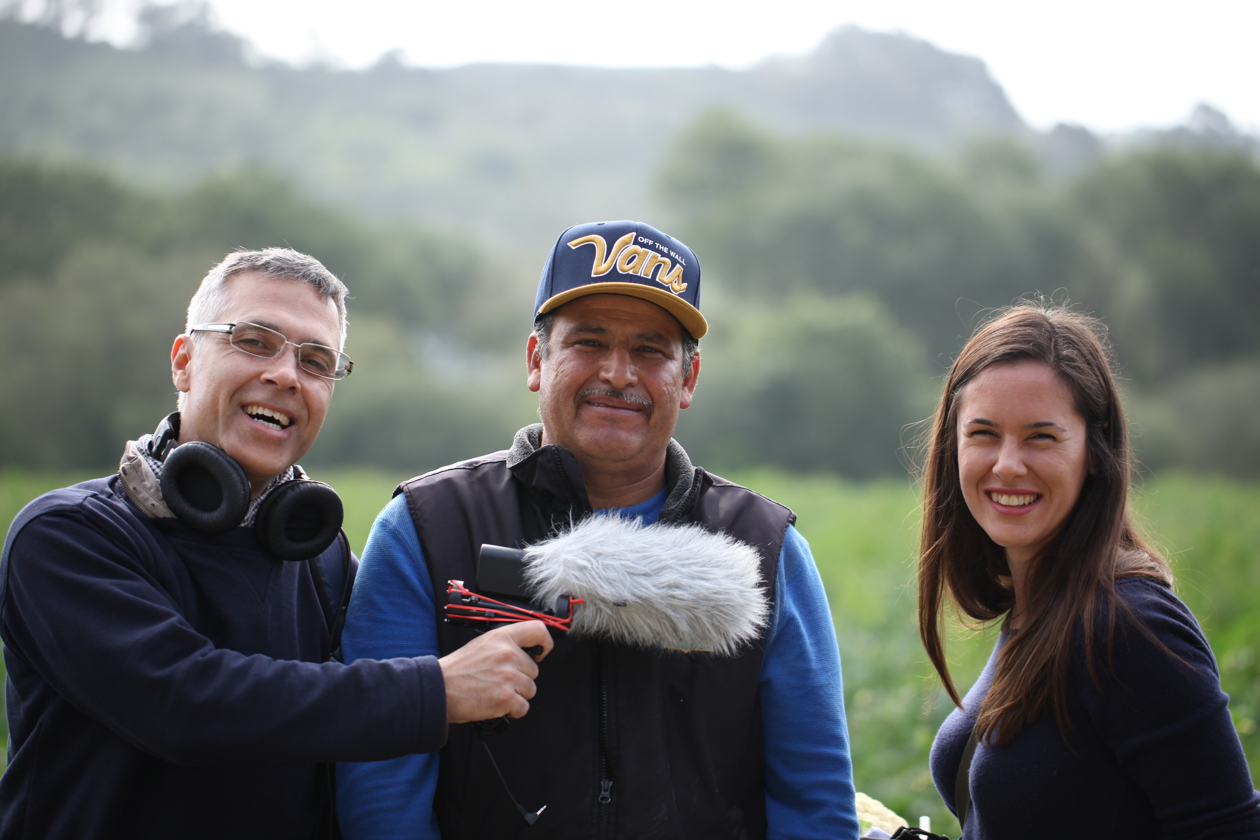 "The HowGrow crew with a bona fide ""cauliflower whisperer"" at  Lakeside Organic Gardens in California."