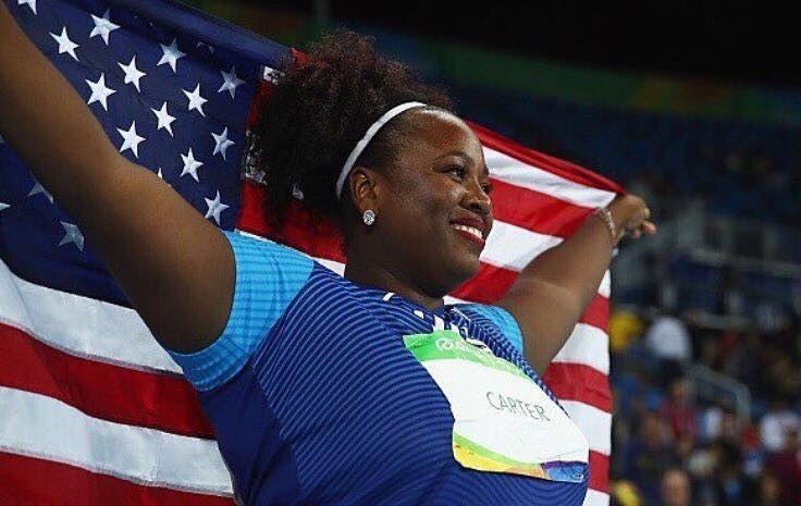 Michelle Carter wins the GOLD in the Women's Shot Put-1st American woman to win the gold!
