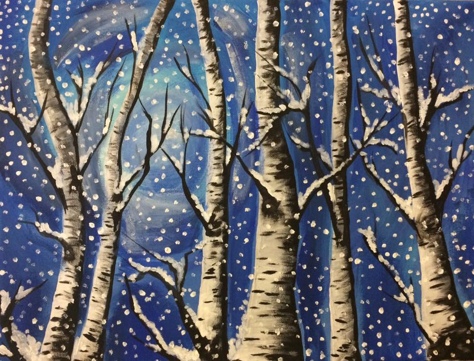 Snowy Moonlit Forest