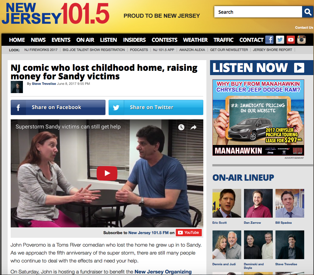 Copy of NJ101.5 - Comic who lost childhood home, raising money for Sandy Victims