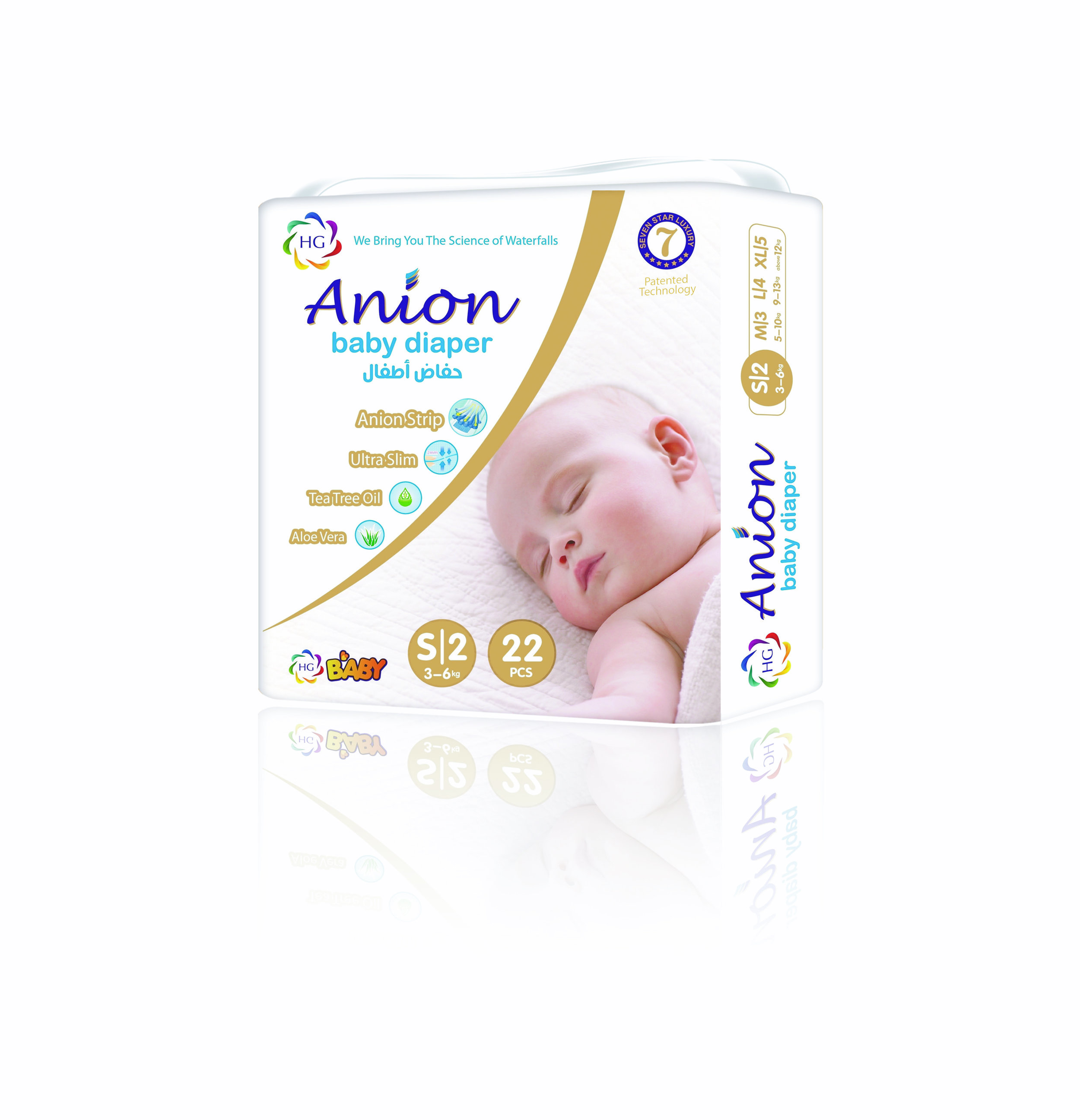 HG Anion Baby Diaper Small 22'S (3-6kgs)