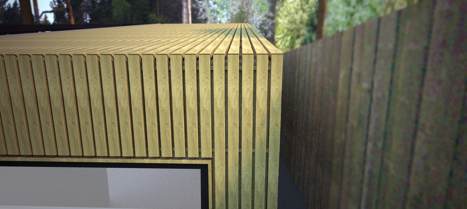 Birch Cladding to Roof and Walls, Detail with Shadow Gaps