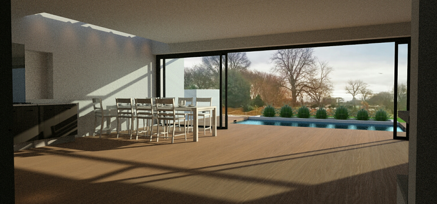 Flush threshold, leading to swimming pool. The extruded flank walls frame the views out to Gunnersbury Park. Recessed rooflights wash the side walls with natural light.