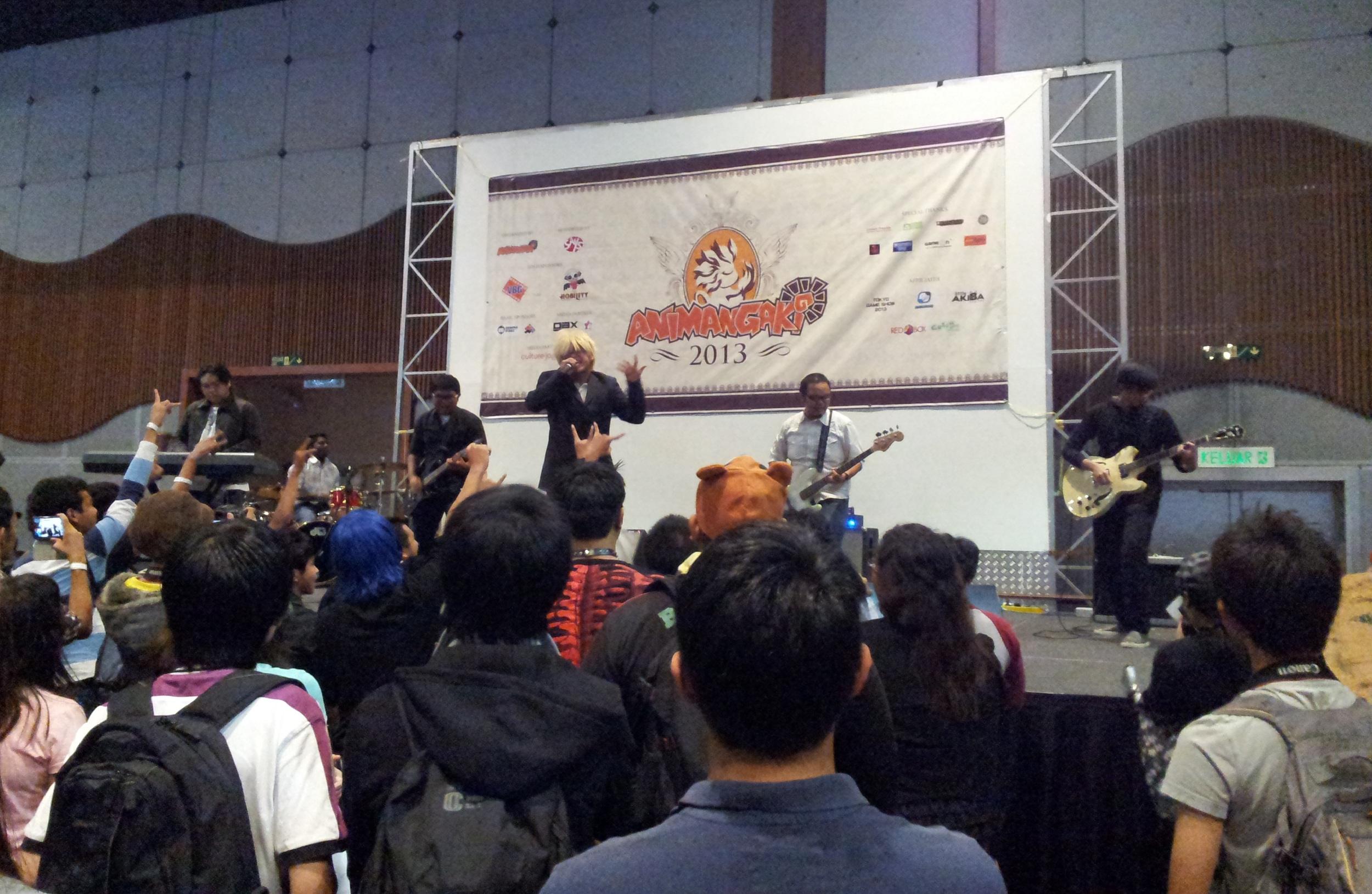 Photo showing a band performing in Animangaki at Kuala Lumpur.