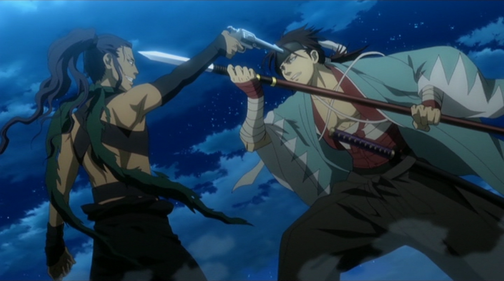 A stand off between the devil Shiranui Kyo and Sanosuke Harada