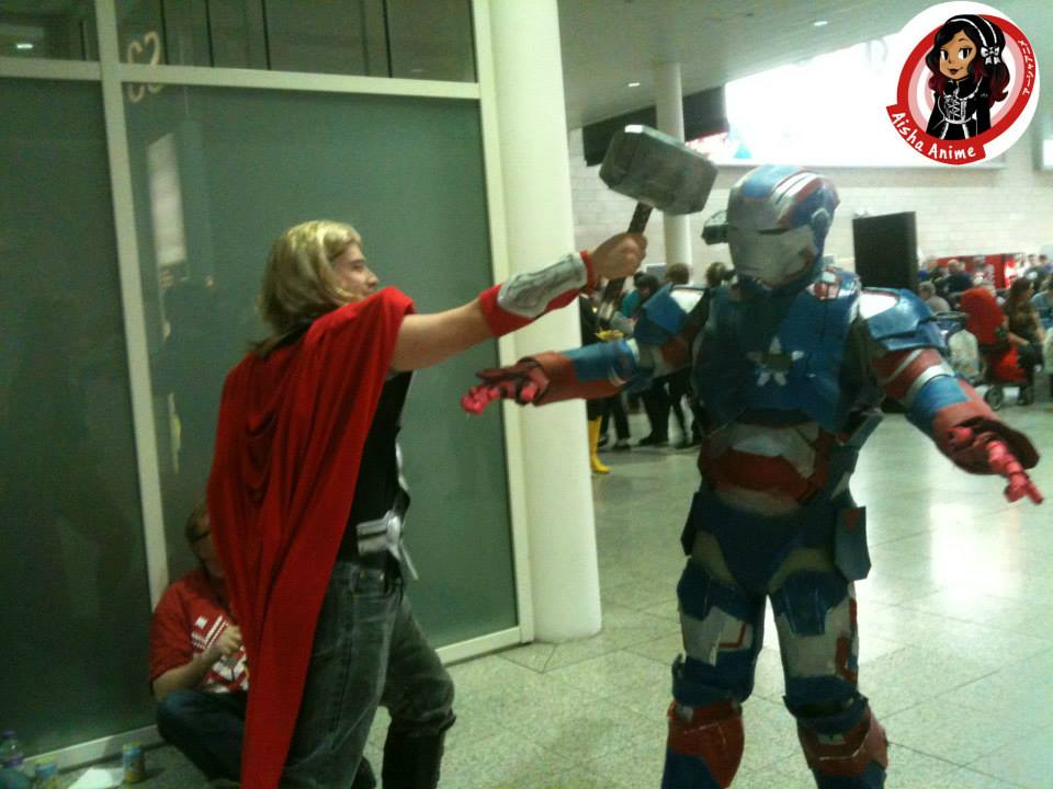 Thor getting heavy with Iron Man, he wasn;t pleased 'You better not scratch my helmet, I MEAN IT!' Thanks guys!
