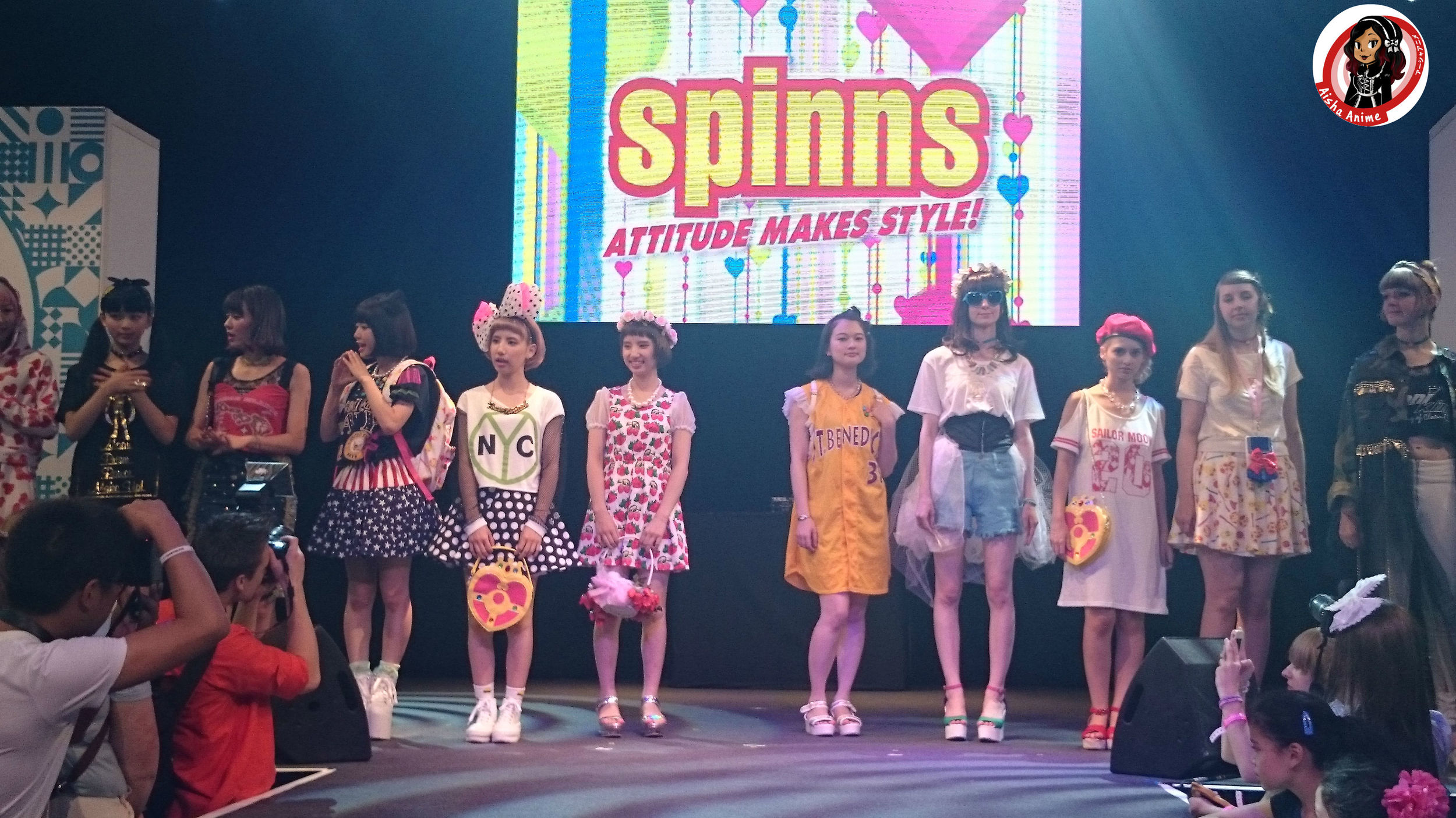 The models are wearing Sailor Moon themed outfits for this particular show