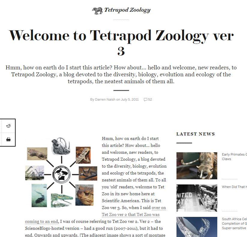 Screengrab of part of the very first article at Tet Zoo ver 3, the SciAm years (2011-2018).