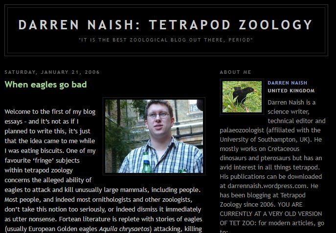 Screengrab of part of the first ever 'proper' Tet Zoo article, the killer eagles one of January 2006. That weird photo of me holding a bottle was taken at a conference held at the Natural History Museum, London; I think by Richard Forrest.
