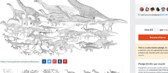 There are currently over 550 in-progress illustrations at the  Tet Zoo patreon . If you support me you get to see how things are coming along behind-the-scenes.