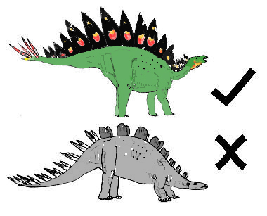 A reminder that the stegosaurs of your parents or grandparents - or those of a recent terrible movie franchise - are not in keeping with the way these animals more likely looked. These drawings are old, excuse the GSP tail muscles. Image: Darren Naish.