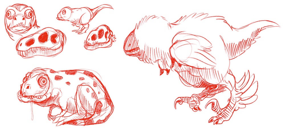 I give you captively bred domestic theropods created by Ethan Kocak: a short-faced, miniature tyranno-pug, and a plush, poodle-like maniraptoran with luxuriant plumage. Image: Ethan Kocak. He's a  New York Times  bestselling artist, dontchaknow.