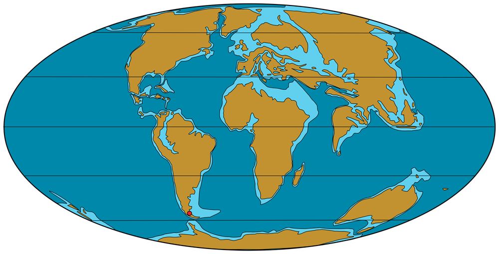 An Eocene map depicting the planet as of around 40 million years ago. At this point, Afro-Arabia had not docked with Eurasia. But members of the mastigure lineage were already present in Eurasia and Afro-Arabia by the time. Image: the original version was used in  Angst et al. (2013) ; this has been modified as per CC BY 2.5.