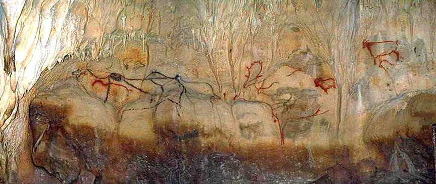 The famous panel at Cougnac, southwest France, showing  M. giganteus  males and females. This part of the cave is also interesting in depicting a short-horned bovid (at upper right) sometimes interpreted as a tahr. There are also ibex here too. I'm uncertain of the exact origin of the photo shown here: I took it from  Fabio Manucci's blog Agathaumus . Numerous additional photos of the same cave can be seen at  Don's Maps .