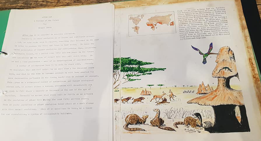 Original text and original draft double-page spread for  After Man , showing creatures inhabiting tropical grasslands. You'll recognise some (but not all!) of the creatures as the prototypes of versions that made it to final publication. (c) Dougal Dixon. Image: Darren Naish.