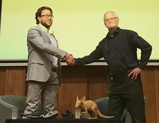 Darren Naish (l) and Dougal Dixon (r) on stage at Conway Hall, September 2018. Image: Will Naish.