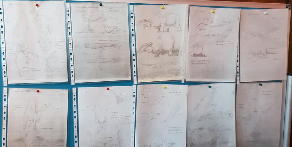 Original sketches, by Dougal, of creatures illustrated for  After Man . The animals were then re-illustrated by various other artists. (c) Dougal Dixon. Image: Darren Naish.