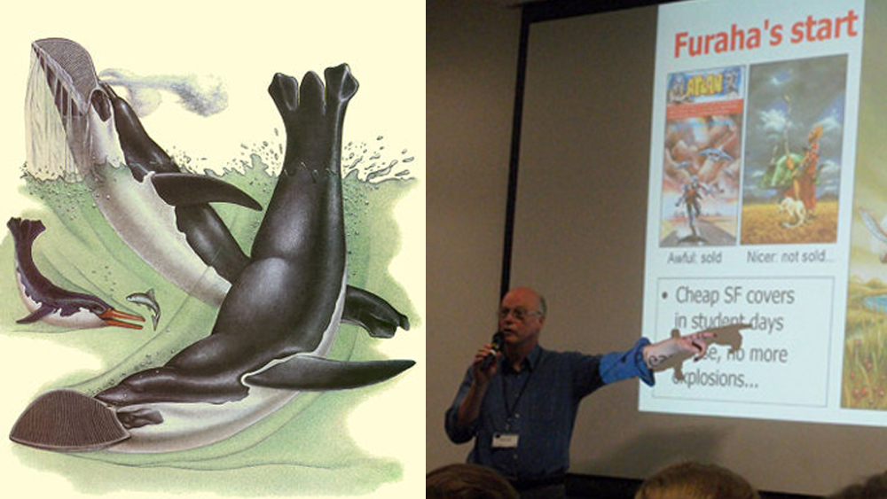A SpecBio montage relevant to TetZooCon 2018. At left: the Vortex from Dougal Dixon's 1981  After Man . At right: Gert van Dijk, here photographed at the LonCon 72nd World Science Fiction Convention in 2014. Images: Dixon 1981, Darren Naish.