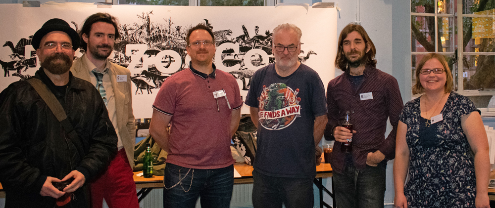 A selection of palaeoartists present at TetZooCon 2018 (and this isn't all of them). Left to right: Luis Rey, John Conway, Bob Nicholls, Steve White, Mark Witton and Rebecca Groom. Image: Georgia Witton-Maclean.