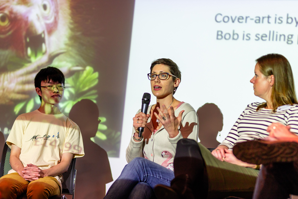 A scene from the bird evolution roundtable event. From left to right: Albert Chen, Caitlin Kight, Hanneke Meijer. Image: Xane/Michael Lesniowski.