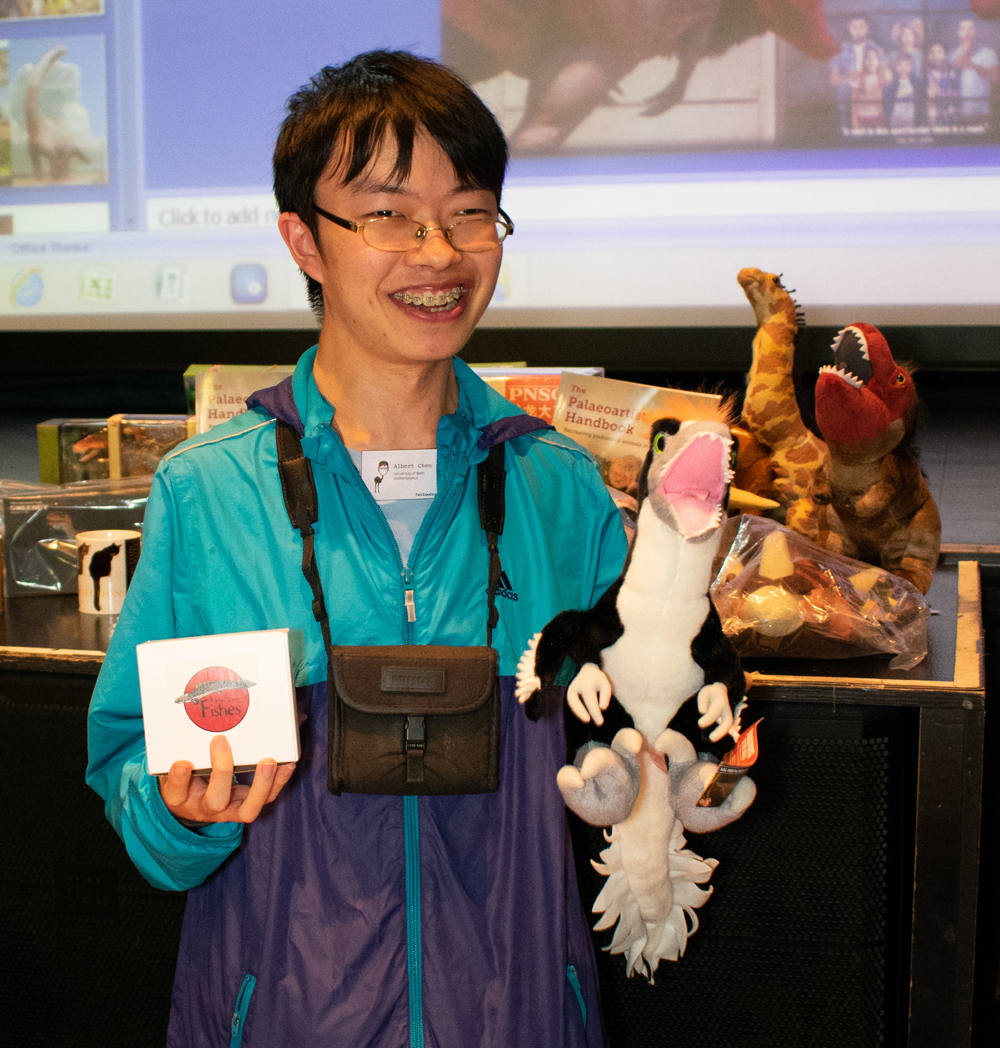 Well done Albert, the 2018 quiz winner. He chose the Fauna Figures bichir and Dinosaurs in the Wild  Dakotaraptor . Image: Georgia Witton-Maclean.